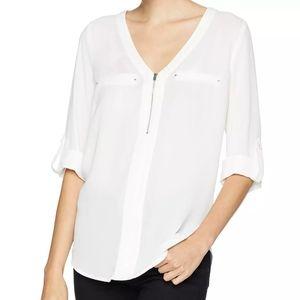 BCX zipper front vneck blouse jr.'s